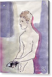 Boy With Pigeon Acrylic Print by Line Arion