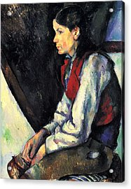 Boy With Red Vest By Cezanne Acrylic Print by John Peter