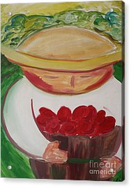 Boy With Strawberries Acrylic Print by Teresa Hutto