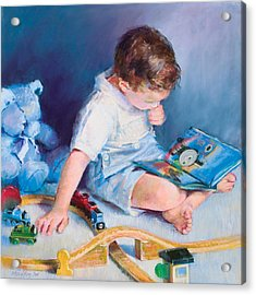 Boy With Train Acrylic Print by Beverly Amundson