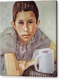 Boy With White Cup Acrylic Print by Jeff Chase