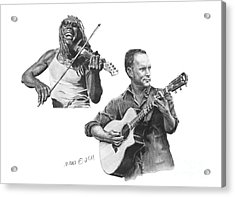 Acrylic Print featuring the drawing Boyd And Dave by Marianne NANA Betts