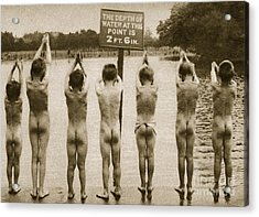 Boys Bathing In The Park Clapham Acrylic Print by English Photographer