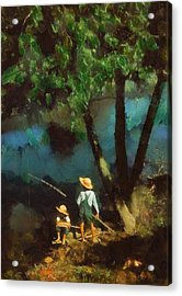 Boys Fishing In A Bayou Acrylic Print by Kai Saarto