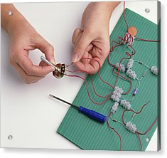 Boy's Hands Attaching Wires Acrylic Print by Dorling Kindersley/uig