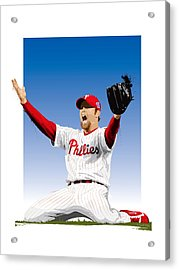 Brad Lidge Champion Acrylic Print by Scott Weigner