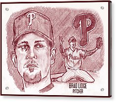 Brad Lidge Acrylic Print by Chris  DelVecchio