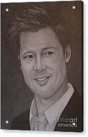 Brad Pitt Acrylic Print by Lorelle Gromus