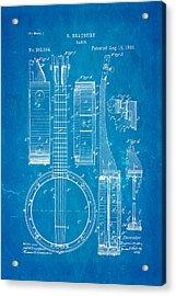Bradbury Banjo Patent Art 1882 Blueprint Acrylic Print