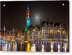 Bradford City Hall In The Evening Acrylic Print by Mick Flynn