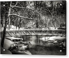 Brainards Bridge After A Snow Storm 3 Acrylic Print by Thomas Young