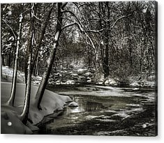Brainards Bridge After A Snow Storm 4 Acrylic Print by Thomas Young