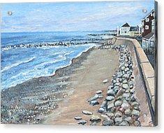 Brant Rock At High Tide Acrylic Print by Rita Brown