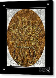 Brass Etching - Oval - Sunflowers Acrylic Print
