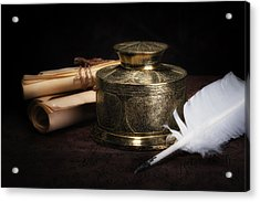 Brass Inkwell Still Life Acrylic Print by Tom Mc Nemar