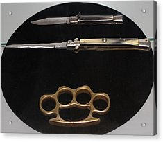 Brass Knuckles And Knives Acrylic Print by Steven Parker
