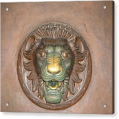 Brass Lion Acrylic Print by Maura Satchell