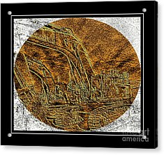 Brass-type Etching - Oval - Construction Worker Acrylic Print