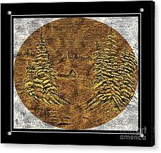 Brass-type Etching - Oval - Cabin Between The Trees Acrylic Print by Barbara Griffin