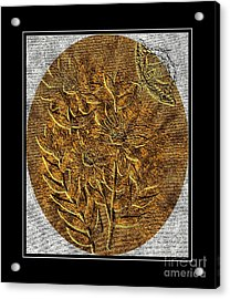 Brass-type Etching - Oval - Daisies And Butterfly Acrylic Print
