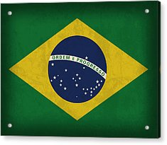 Brazil Flag Vintage Distressed Finish Acrylic Print by Design Turnpike