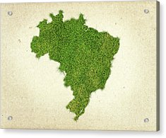 Brazil Grass Map Acrylic Print by Aged Pixel