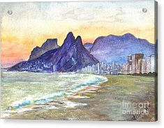 Sugarloaf Mountain And Ipanema Beach At Sunset Acrylic Print by Carol Wisniewski