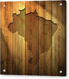 Brazil Map On Lit Wooden Background Acrylic Print by Bgblue