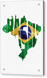 Brazil Typographic Map Flag Acrylic Print by Ayse Deniz