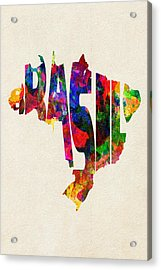 Brazil Typographic Watercolor Map Acrylic Print by Ayse Deniz