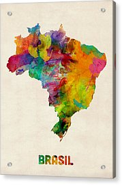 Brazil Watercolor Map Acrylic Print by Michael Tompsett