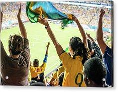 Brazilian Fan Celebrating Goal Acrylic Print by Ramiro Olaciregui