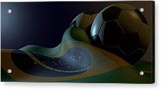 Brazilian Flag And Soccer Ball Acrylic Print by Allan Swart