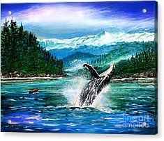 Breaching Humpback Whale Acrylic Print by Patricia L Davidson