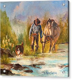 Acrylic Print featuring the painting Break For The Ride by Karen Kennedy Chatham