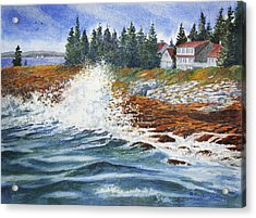 Acrylic Print featuring the painting Breakers At Pemaquid by Roger Rockefeller