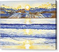 Breakers At Sunset Carmel Acrylic Print by Kerry Van Stockum