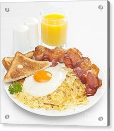 Breakfast Hash Browns Bacon Fried Egg Toast Orange Juice Acrylic Print by Colin and Linda McKie