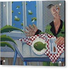 Breakfast In Barbados 1989 Acrylic Print by Larry Preston