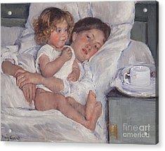 Breakfast In Bed Acrylic Print by Mary Cassatt
