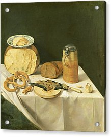Breakfast Still Life Oil On Canvas Acrylic Print by Johann Georg Hinz