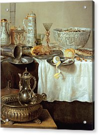 Breakfast Still Life Acrylic Print by Willem Claesz Heda
