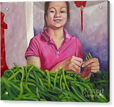 Breaking Beans Acrylic Print by Katrina West