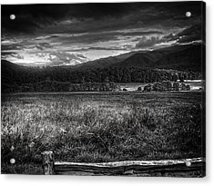 Breaking Sun In Cades Cove In Black And White Acrylic Print