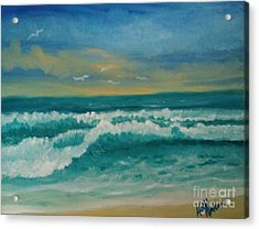 Acrylic Print featuring the painting Breaking Waves by Holly Martinson