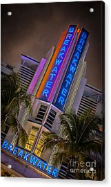 Breakwater Hotel Art Deco District Sobe Miami - Hdr Style Acrylic Print