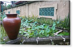 Breather Panel By Pool Acrylic Print by Jack Edson Adams