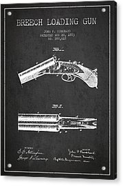 Breech Loading Gun Patent Drawing From 1883 - Dark Acrylic Print