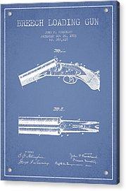 Breech Loading Gun Patent Drawing From 1883 - Light Blue Acrylic Print