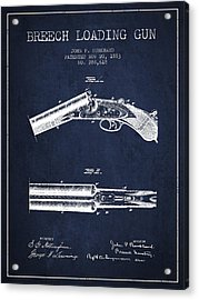 Breech Loading Gun Patent Drawing From 1883 - Navy Blue Acrylic Print by Aged Pixel